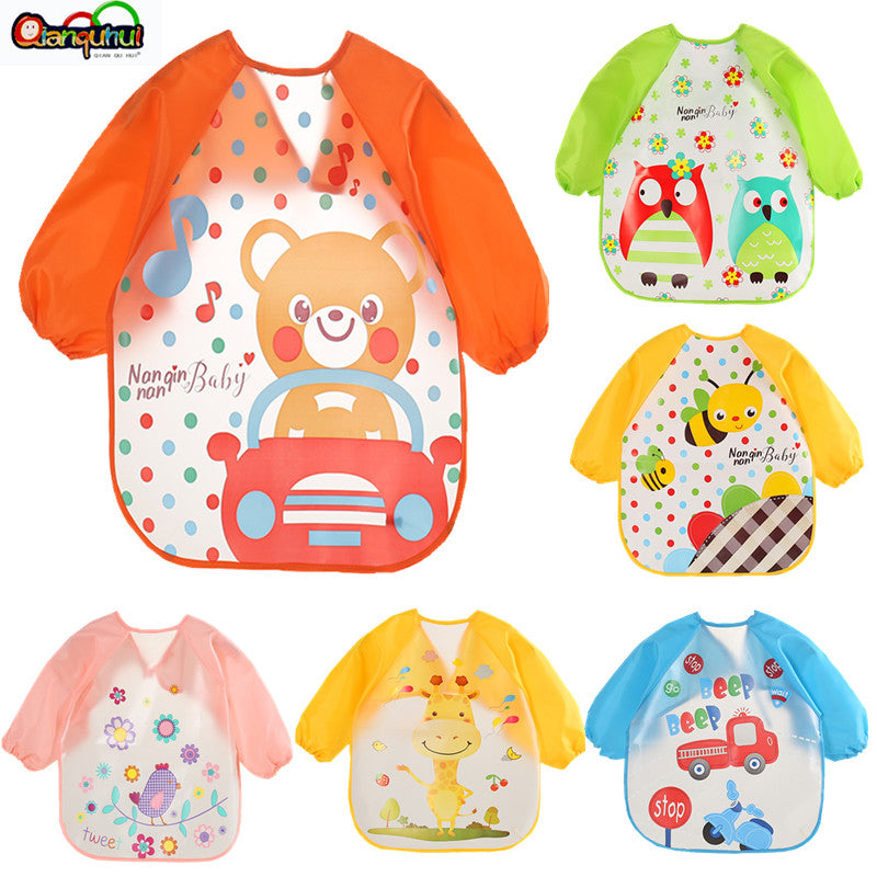 Cute Baby Bibs Waterproof Long Sleeve Apron Children Feeding Smock