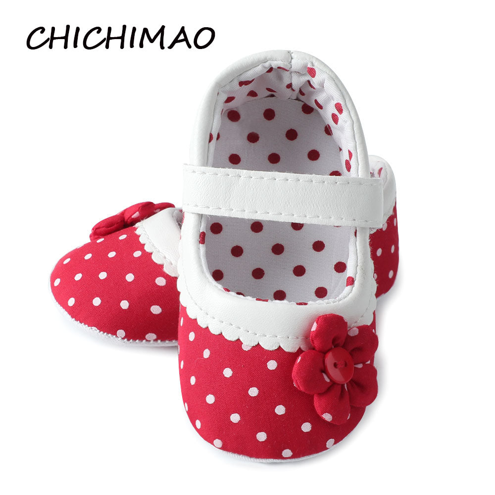 Baby Girl Shoes Princess Polka Dots With Flowers Soft Cotton Toddler