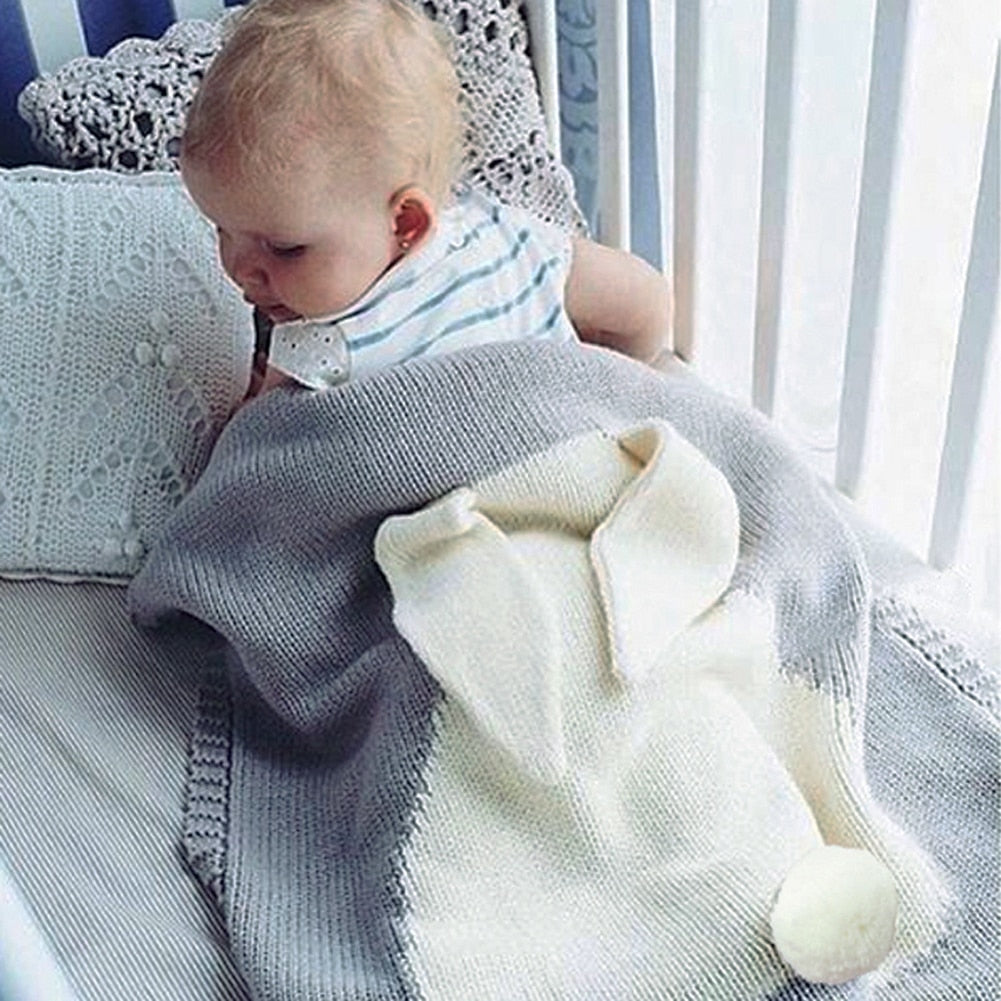 Baby Blankets Newborn Cute Big Rabbit Ear Blanket Soft Warm Knitted Swaddle Kids Bath