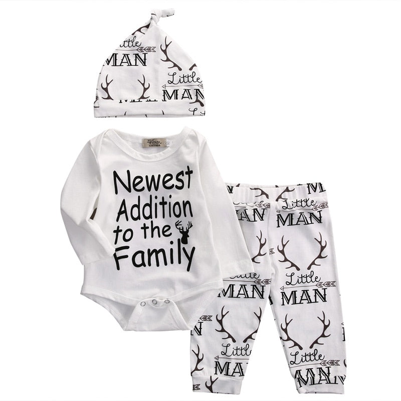 Newborn Infant Baby Boy Clothes Set Long Sleeve O-Neck Romper Tops Pant Hat Outfits
