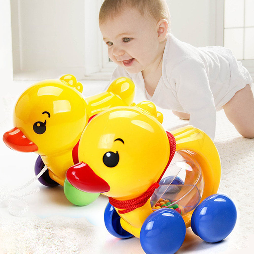 Baby Rattles Pull rope Duck Animals Hand Jingle Shaking Bell Car Rattles Toys