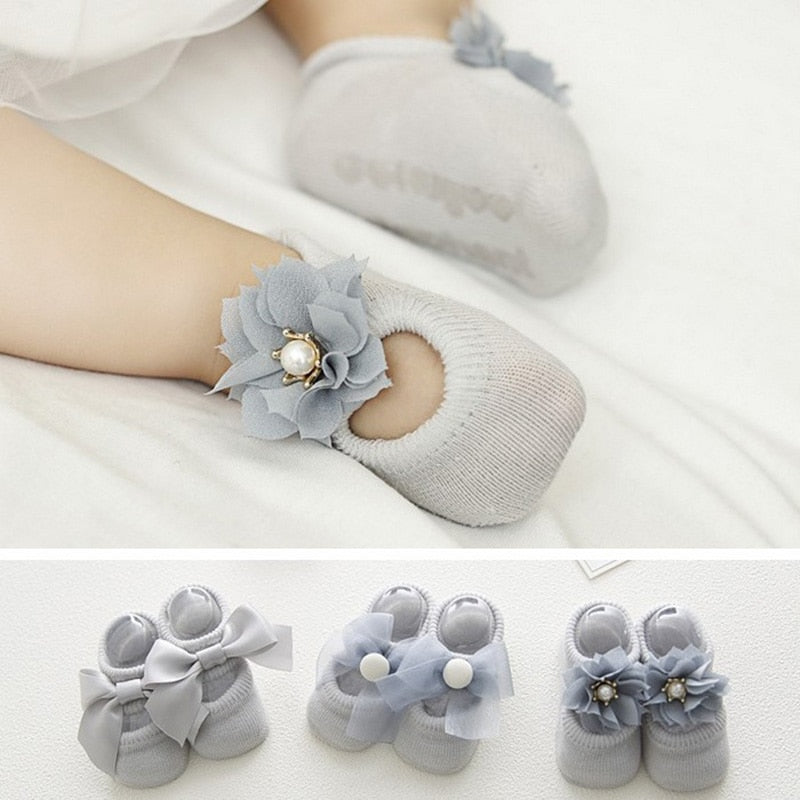 Lot Lace Flower Newborn Baby Socks Cotton Anti-Slip Kids Floor Socks Bow Baby Girl