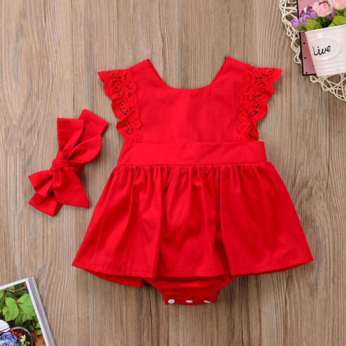 New Arriavl Christmas Ruffle Red Lace Romper Dress Baby Girls Sister Princess Kids Xmas Party