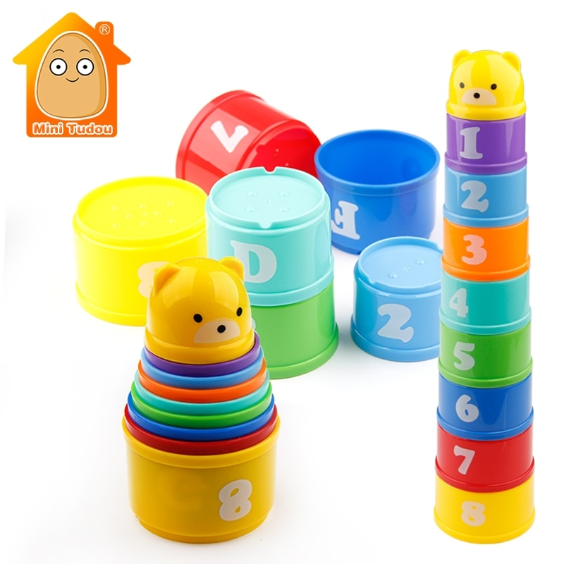 Educational Baby Toys Letters Foldind Stack Cup Tower Children Early
