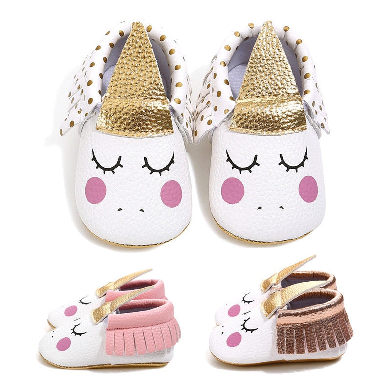 Cute Lovely Toddler Infant Baby Girls Cartoon Unicorn Printed Anti Slip First Walker