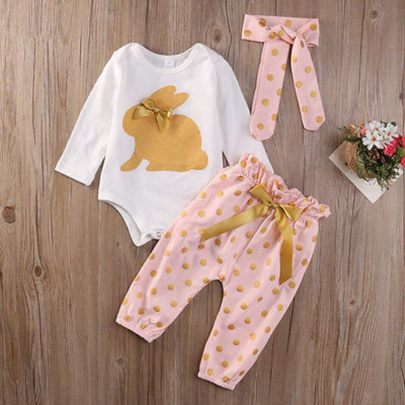 cute Newborn Infant Baby Girls  clothes  Summer rabbit  long sleeve bodysuit bow