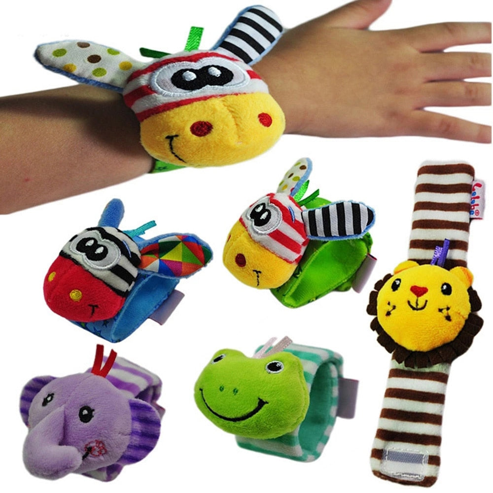 Rattles Toys Animal Socks Wrist Strap with Rattle Baby Foot Socks