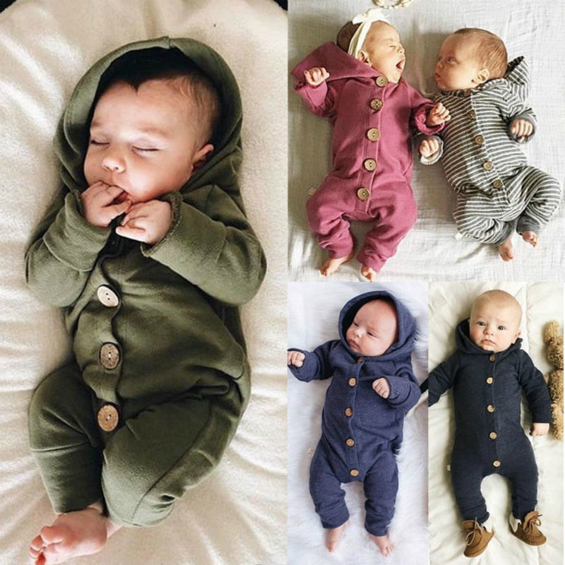 Toddler Baby Clothes Hooded Long Sleeve Button Boy&Girl Kids Baby Rompers