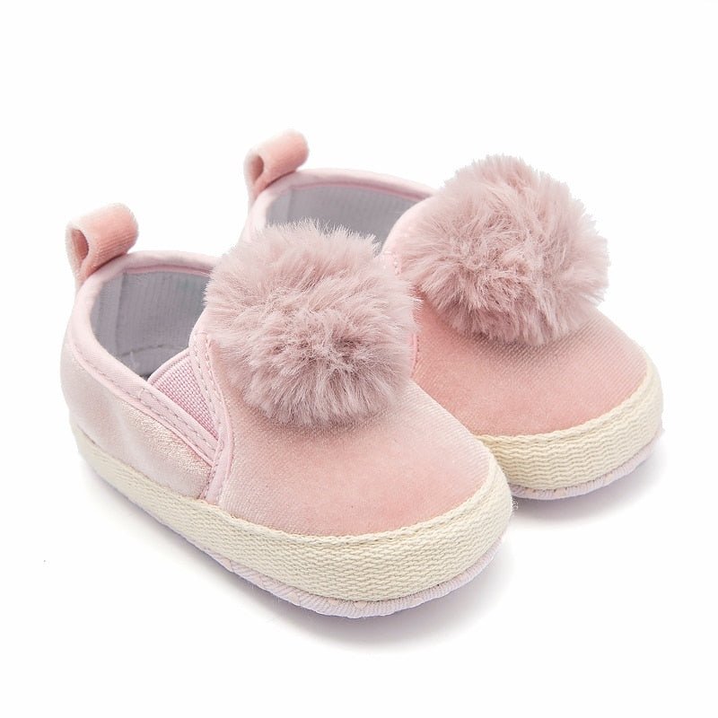 Baby Girl Shoes Pink Flocculus Infant Shoes Slip-on First Walkers