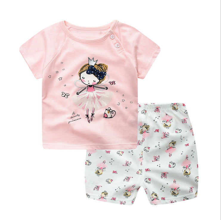 Summer Princess Baby Girl Clothes, Newborn Clothing Pink Tshit Outfits