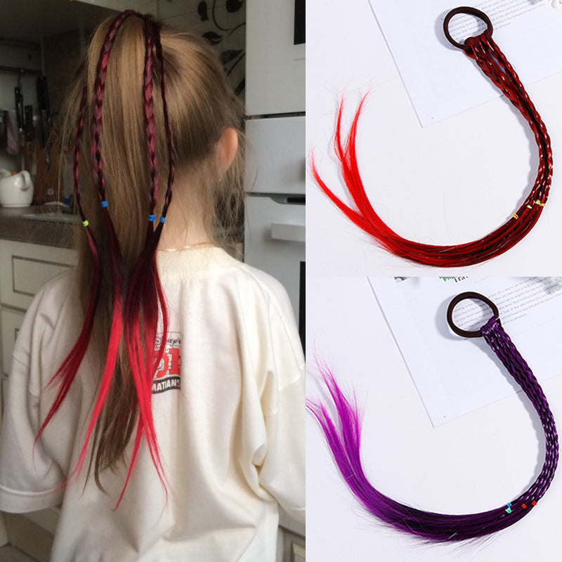 Girls Colorful Wigs Ponytail Hair Ornament Headbands Rubber Bands Beauty
