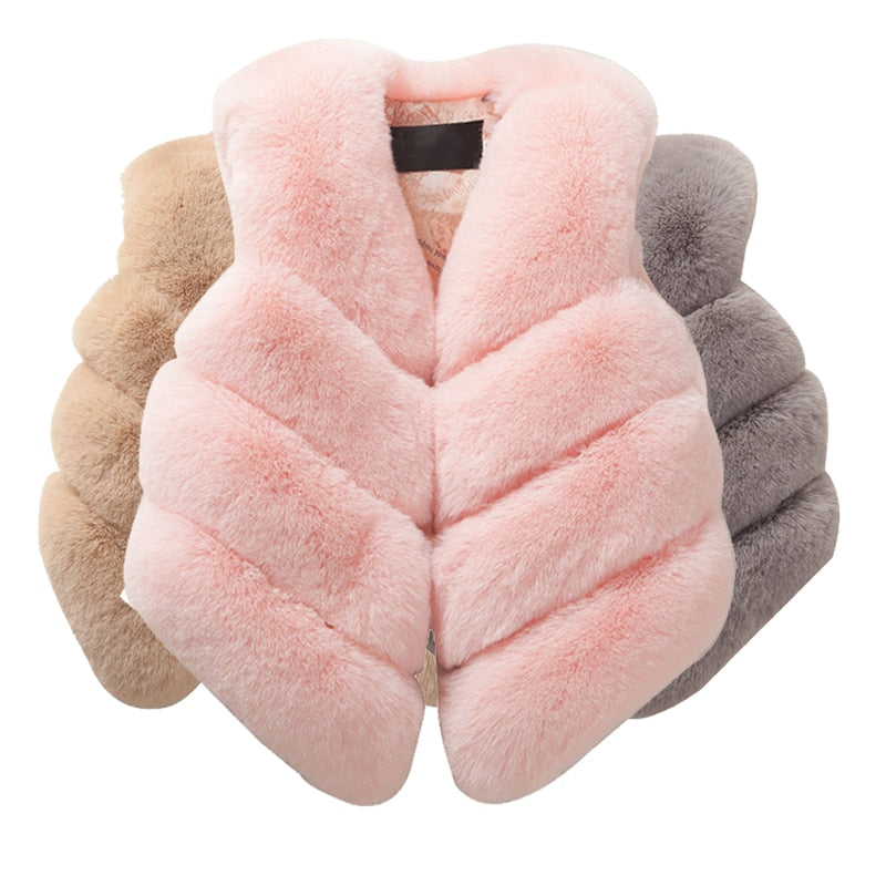 Winter Girls Faux fur Baby Coats for Girls Jackets Kids Waistcoat Outwear Girls