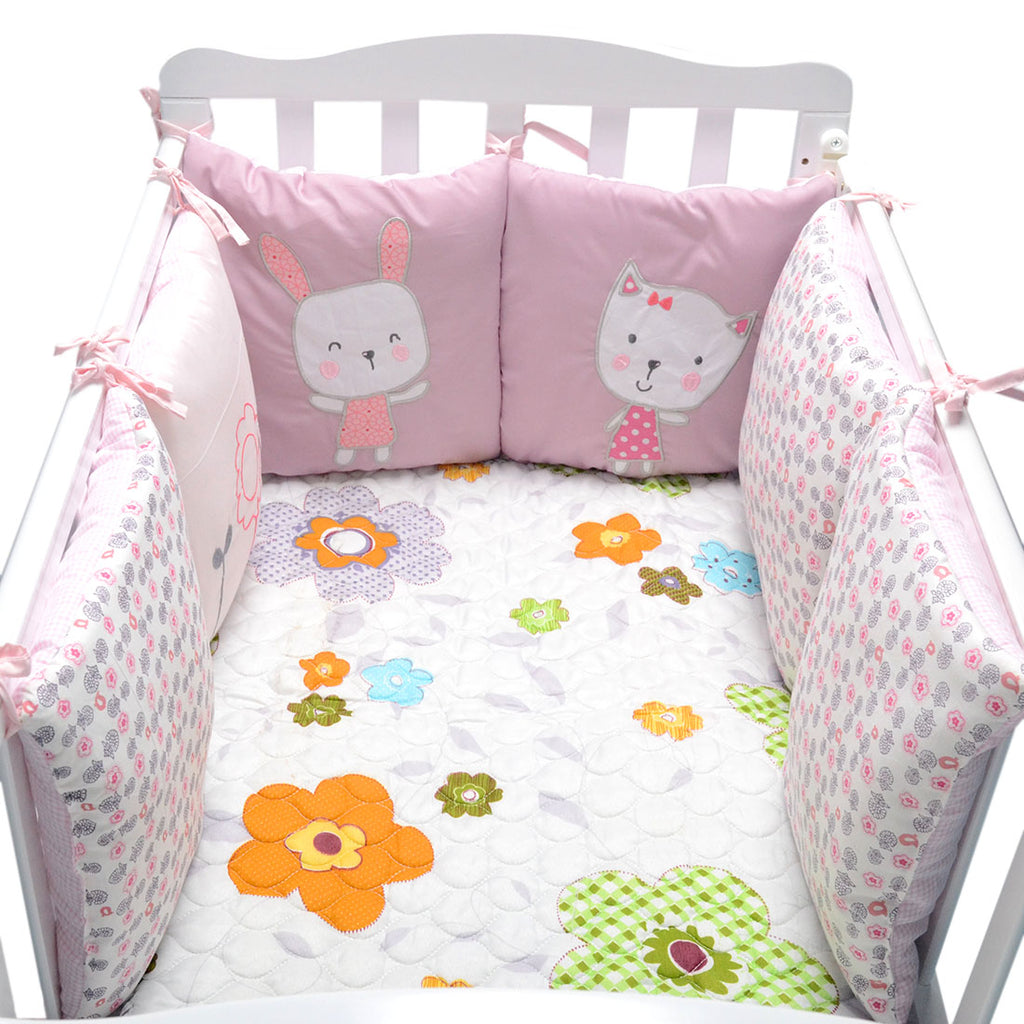 Baby Bed Bumper in the Crib Rabbit Flowers Baby Bedding Bumper Bed