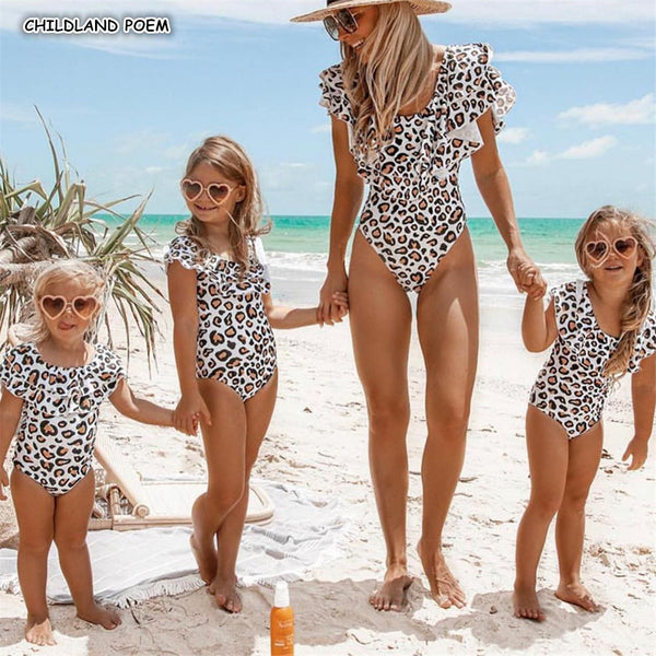 Mother And Daughter Swimsuit 2019 Ruffle Leopard Mom Daughter Swimwear Family