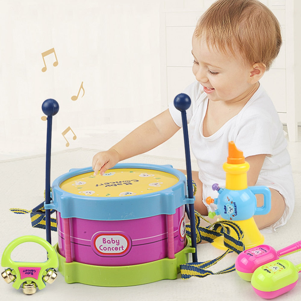 double-sided tambourine educational toys baby rattle children's musical instrument