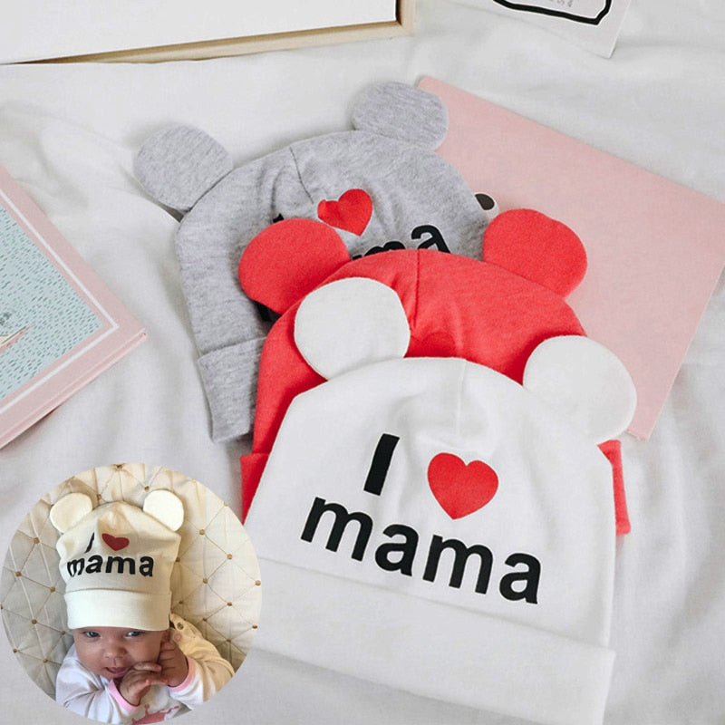 Cute Ear Baby Hat Newborn Boys Girls Cotton Skullies Beanie Soft Spring Kids I Love mama papa