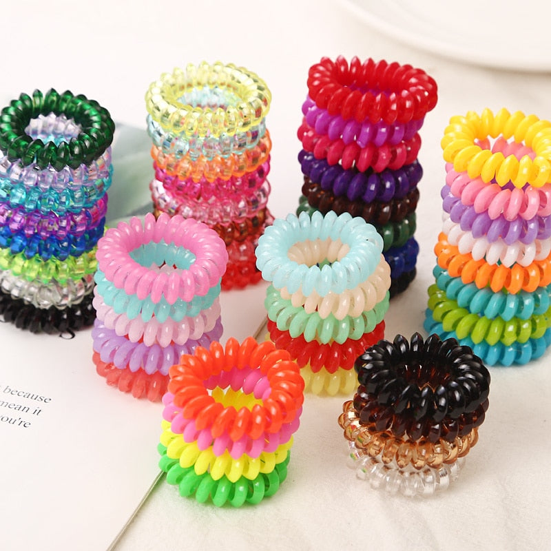 Small Telephone Line Hair Ropes Girls Colorful Elastic Hair Bands Kid