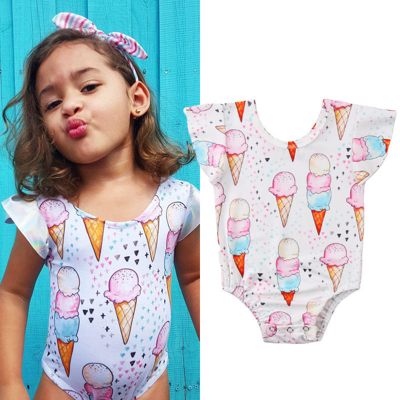 Toddler Infant Kid Baby Bodysuits Girl Bathing Swimwear Ice Cream