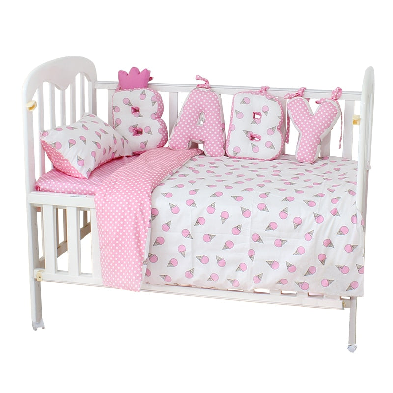 Baby Bedding Set Cotton Soft Breathable Crib Kit Include Duvet Cover Pillowcase Bed Sheet