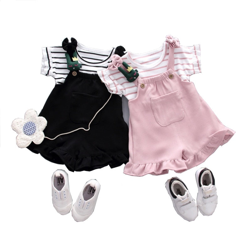 Summer Chinese style baby girl clothing striped T-shirt tops & shorts sports suit for newborn baby girls