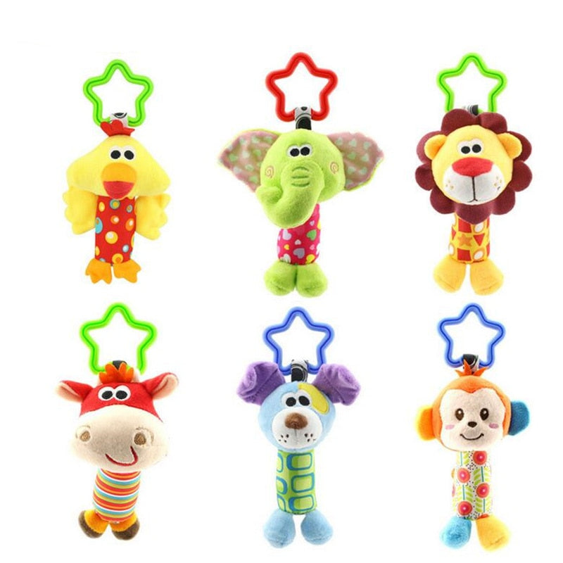 Toys Cartoon Animal Plush Hand Bell Baby Stroller Crib Hanging Rattles