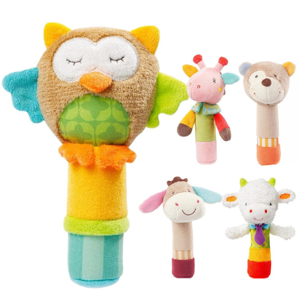 Baby Rattle Mobiles Cute Baby Toys Cartoon Animal Hand Bell Rattle Soft Toddler Plush