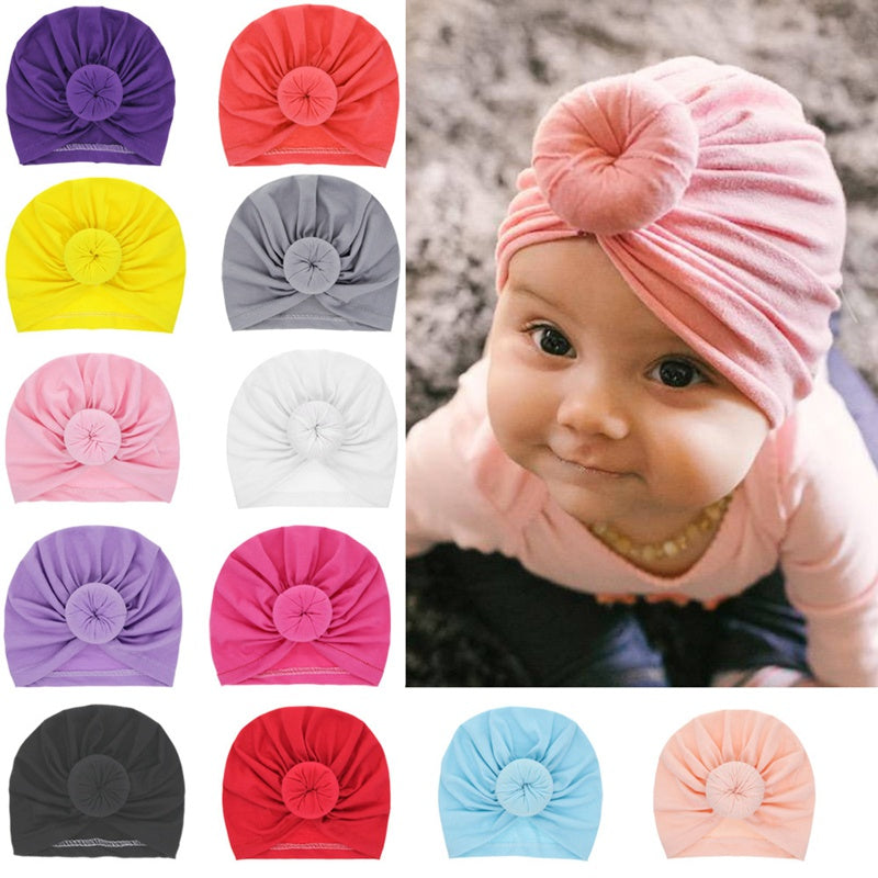 Headbands Solid Cotton Kont Turban Headband For Girls Spandx Stretchy Beanie Hat Headwear Baby Hair