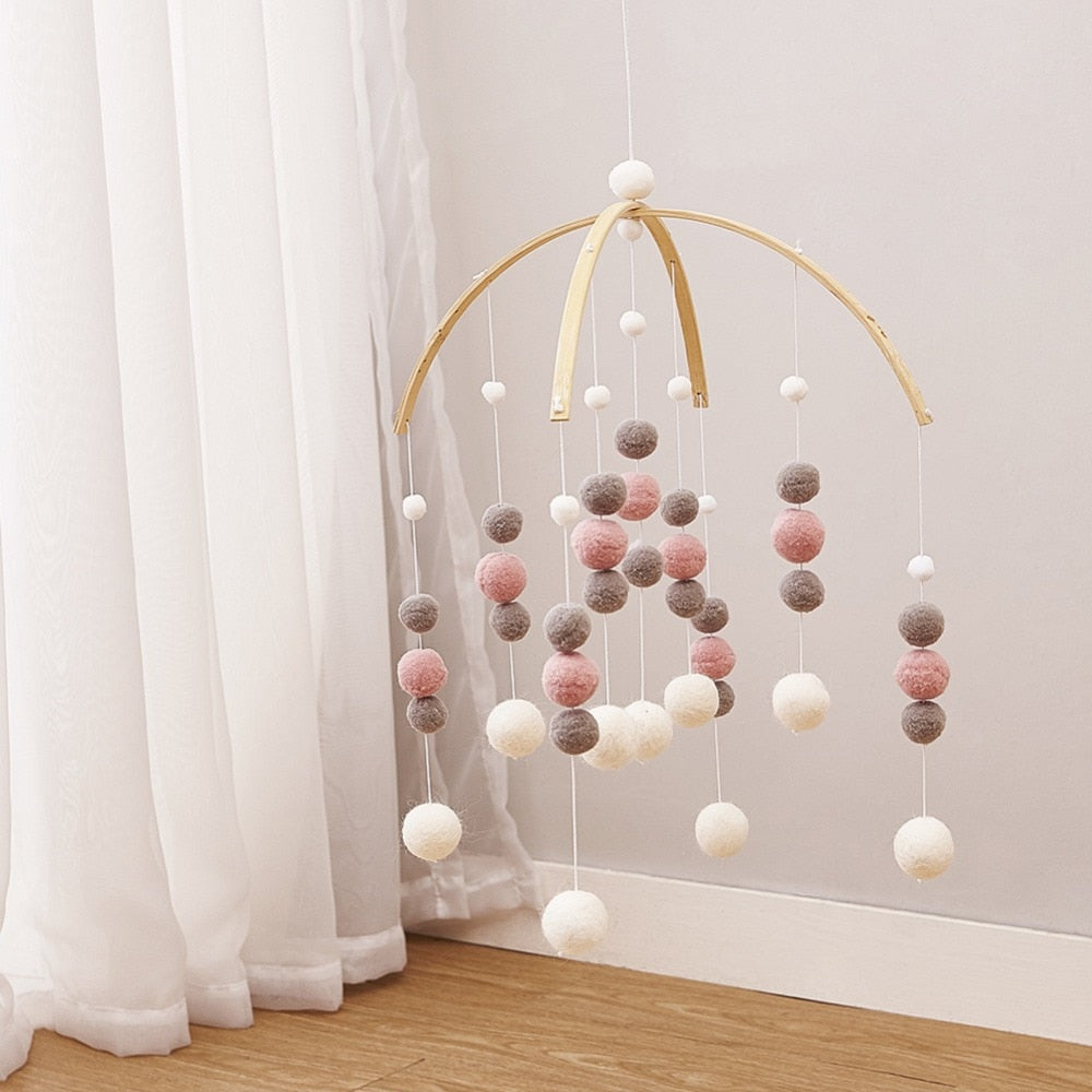 DIY Macaron Color Hair Ball Decor Banner Baby Room Decoration Bedding Bumpers Kids