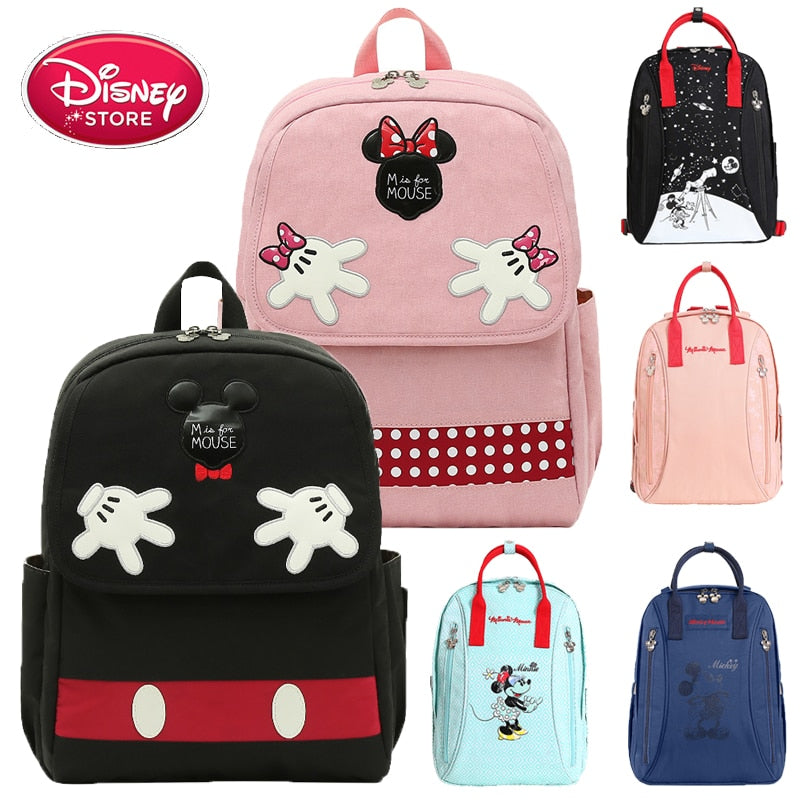 Disney Diaper Bag Backpack Disney Mickey Mouse USB Heating Bag Kids Anti-lost Belt