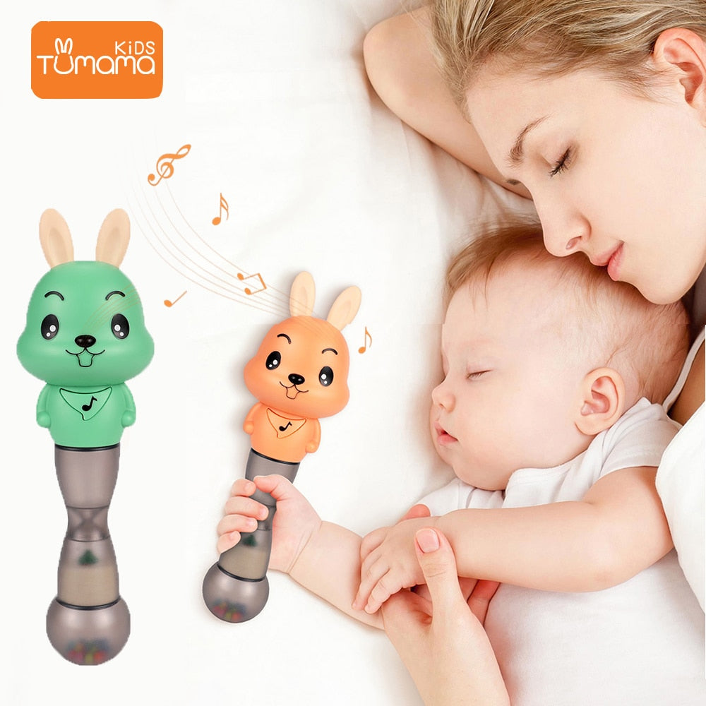 Tumama Baby Rattles 4 in 1 Music Sand Hammer Toy Baby Toys Flashing Educational