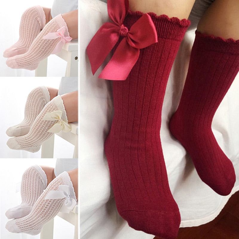 Newborn baby girls socks Summer Spring Mesh socks kids bow