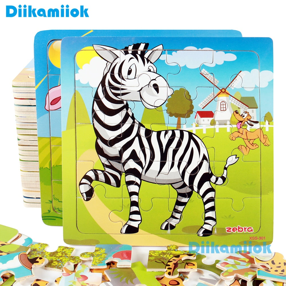Cartoon Wooden Puzzle Children Animal/ Vehicle Jigsaw Toy
