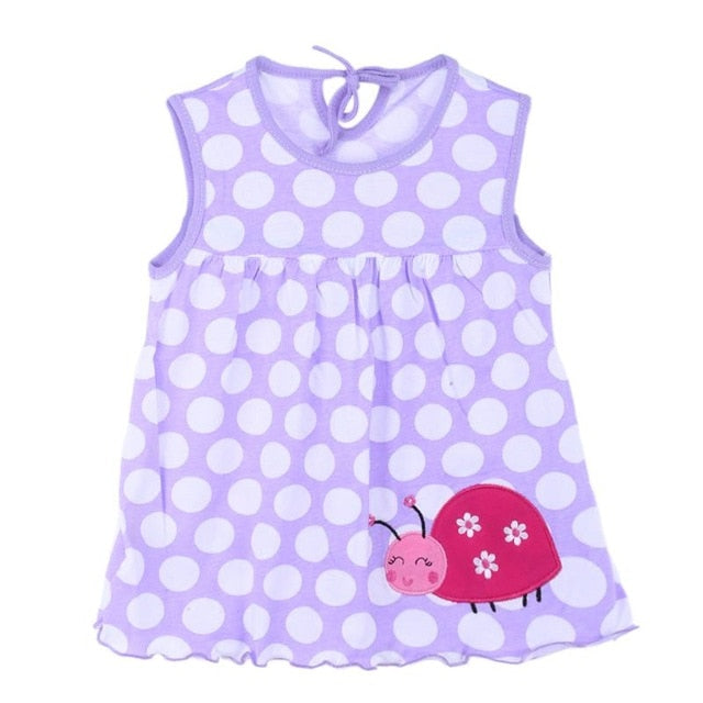 New Summer Dresses Sleeveless Stylish Cooling Print Toddlers Baby Girls Soft Cotton Colorful