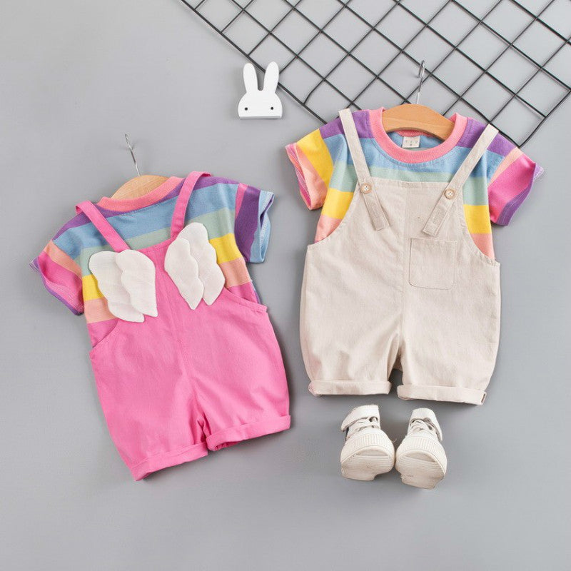 Summer Toddler Infant Clothing Baby Girls Boys Clothes Sets Rainbow T Shirt Strap Shorts