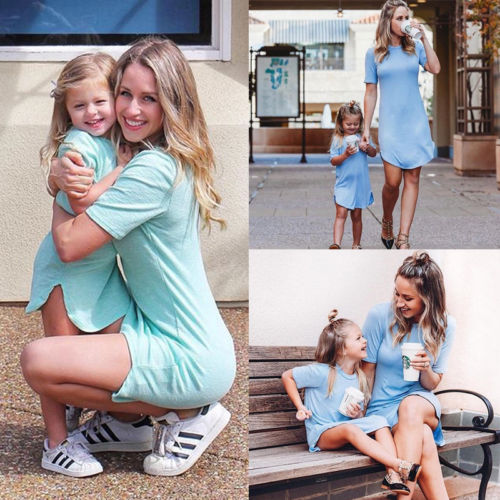 Summer Mom Daughter Short Sleeve T-shirt Dress Family Matching Outfits Baby Kid