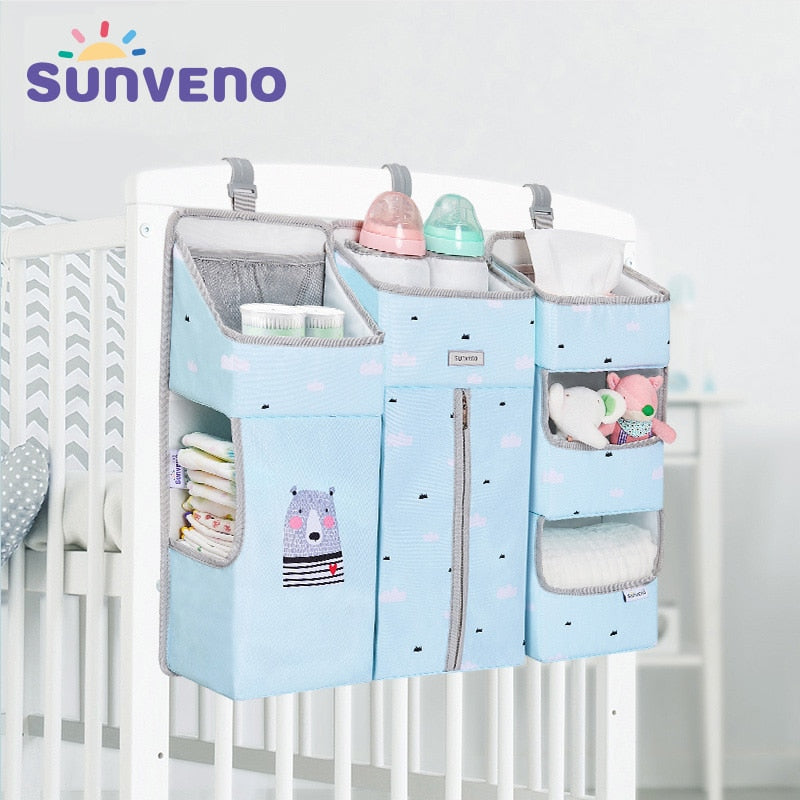 Baby Crib Organizer Bed Hanging Bag for Baby Essentials Diaper Storage Cradle Bag