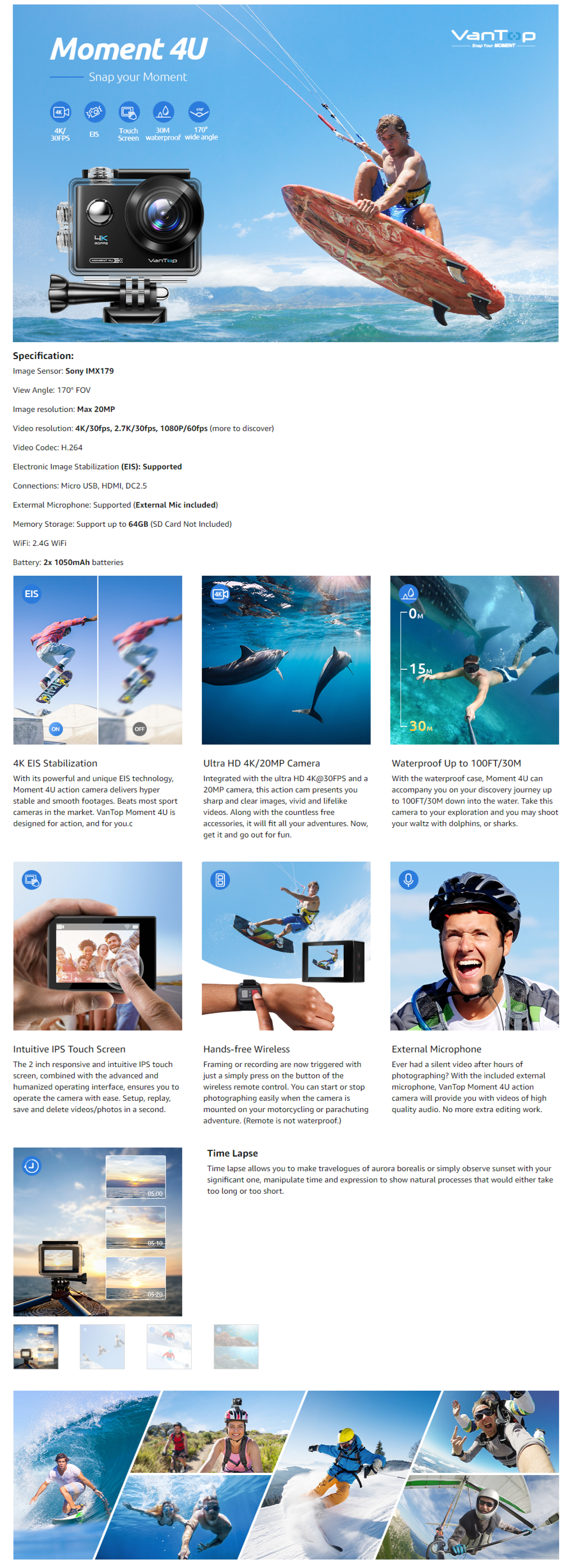 Vantop Moment 4U Action Camera Under 8000 Rupees Only in India