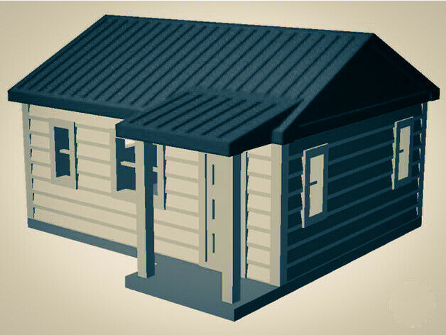 """The Outdoor Series"" - Cabin #1 - Camping - Modeled in Color  TT Scale 1:120"