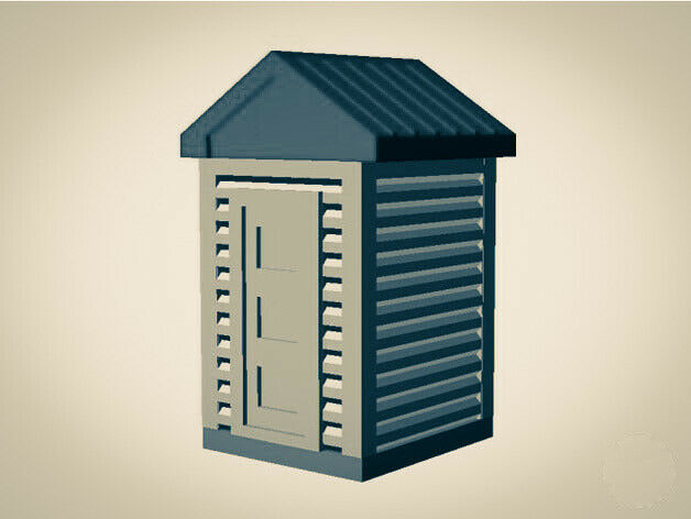 """The Outdoor Series"" OUTHOUSE  Camping - Modeled in Color - Z Scale 1:220"