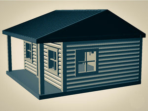 """The Outdoor Series"" - Cabin #5 - Camping - Modeled in Color  S Scale 1:64  3D"