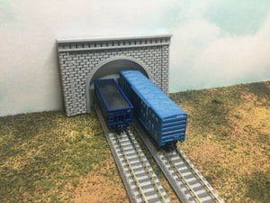 2 TUNNEL PORTALS CUT STONE / BRICK Single or Double Track - Z Scale 1:220 PORTAL