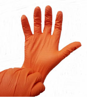 orange max grip 11 mil nitrile disposable gloves