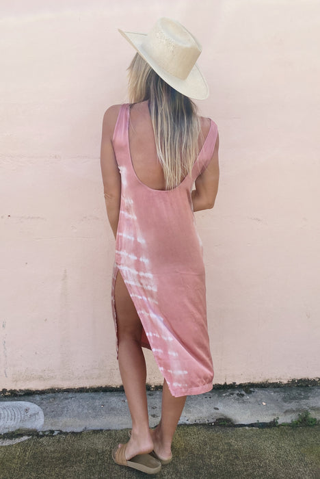 Low back dress: Dusty Rose M