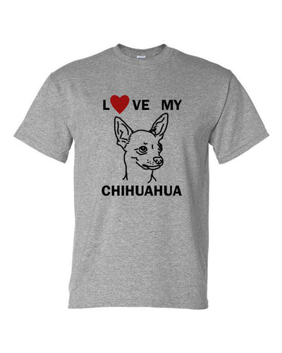 Love My Chihuahua t-shirt crew neck grey