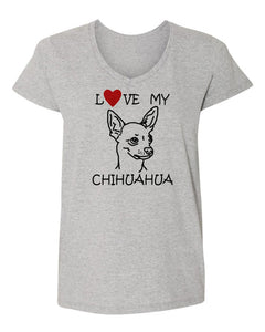 Love My Chihuahua t-shirt v neck grey
