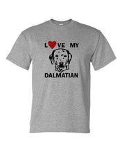 Load image into Gallery viewer, love my dalmatian t-shirt crew neck grey