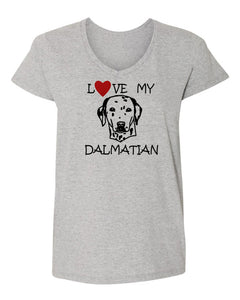 love my dalmatian t-shirt v neck grey