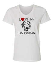 Load image into Gallery viewer, love my dalmatian t-shirt v neck white