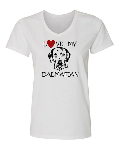 love my dalmatian t-shirt v neck white