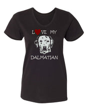 Load image into Gallery viewer, love my dalmatian t-shirt v neck black